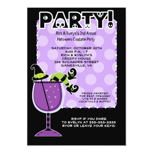 Witch in Cocktail Halloween Party 5x7 Invitation