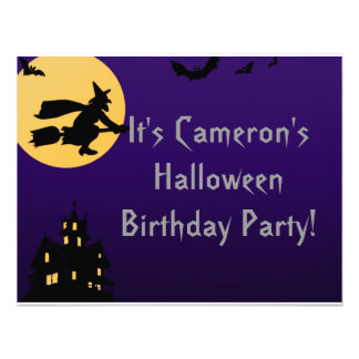 Witch In Flight at Midnight - Halloween Birthday Personalized Invites