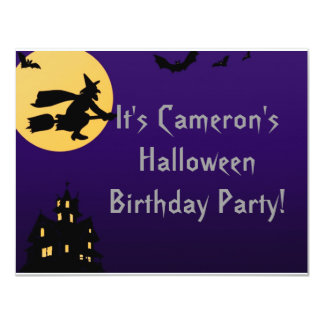 """Witch In Flight at Midnight"" - Halloween Birthday Personalized Invites"