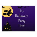 """""""Witch In Flight at Midnight"""" - Halloween Party 4.25x5.5 Paper Invitation Card"""