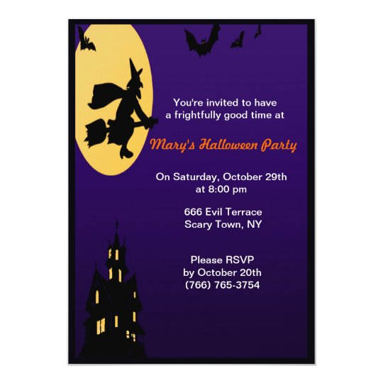 Witch In Flight Halloween Party Invitations