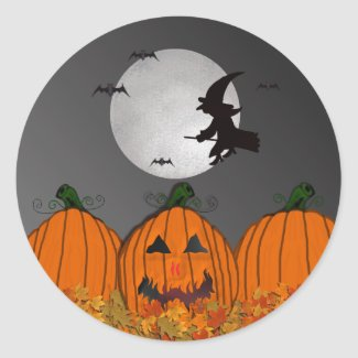 Witch in Flight Halloween Stickers sticker
