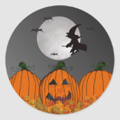 Witch in Flight Halloween Stickers