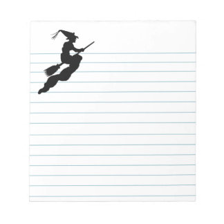 Witch in Flight on Broom Silhouette Notepad