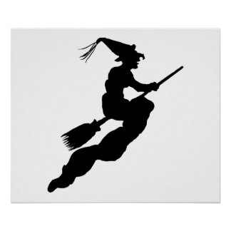Witch in Flight on Broom Silhouette Poster