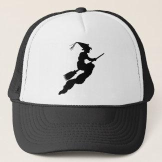 Witch in Flight on Broom Silhouette Trucker Hat