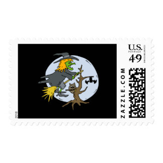 Witch in front of blue moon postage