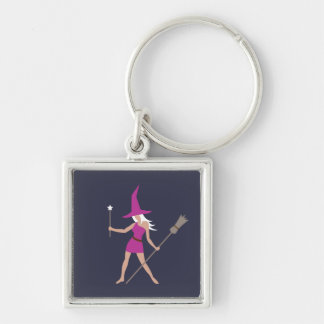 Witch in Pink Silver-Colored Square Keychain