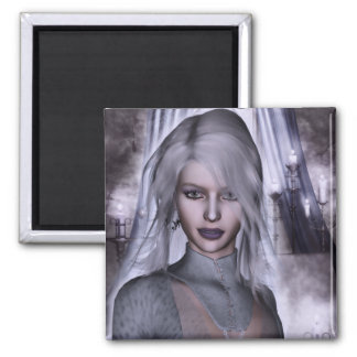 Witch In White Gothic Fantasy 3D 2 Inch Square Magnet