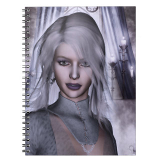 Witch In White Gothic Fantasy 3D Notebook