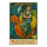 Witch Jack O Lantern Bird Pumpkin Crescent Moon Poster