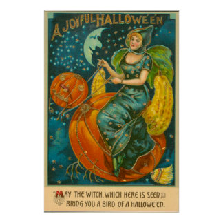 Witch Jack O Lantern Bird Pumpkin Crescent Moon Poster