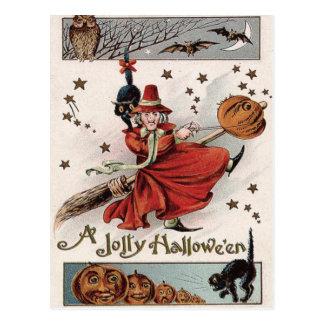 Witch Jack O Lantern Black Cat Bat Owl Postcard