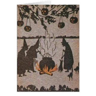 Witch Jack O' Lantern Cauldron Owl Card