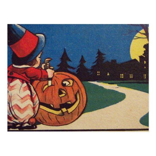 Witch Jack O Lantern Full Moon Carving Pumpkin Postcard