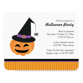 Witch Jack o Lantern Halloween Party Invitations