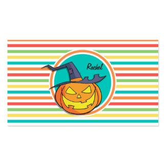Witch Jack-o-lantern on Bright Rainbow Stripes Business Cards
