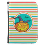 Witch Jack-o-lantern on Bright Rainbow Stripes Kindle Cover