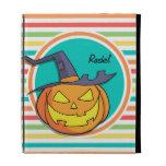 Witch Jack-o-lantern on Bright Rainbow Stripes iPad Folio Case