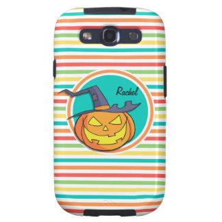Witch Jack-o-lantern on Bright Rainbow Stripes Galaxy SIII Covers