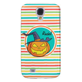 Witch Jack-o-lantern on Bright Rainbow Stripes Samsung Galaxy S4 Covers