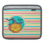 Witch Jack-o-lantern on Bright Rainbow Stripes Sleeves For iPads
