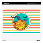 Witch Jack-o-lantern on Bright Rainbow Stripes MacBook Decals