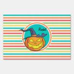 Witch Jack-o-lantern on Bright Rainbow Stripes Sign
