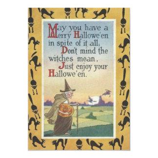 Witch Jack O' Lantern Pumpkin Black Cat 5x7 Paper Invitation Card