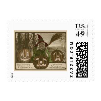 Witch Jack O' Lantern Pumpkin Goblin Postage