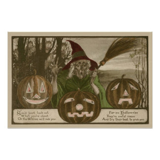 Witch Jack O' Lantern Pumpkin Goblin Poster