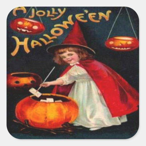 Witch & Jack O' Lanterns Square Sticker