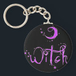 """Witch Keychain<br><div class=""""desc"""">Show your Pagan Pride with this very cute Witch design in bright pink with lots of stars sparkling!</div>"""
