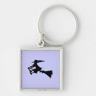Witch Silver-Colored Square Keychain