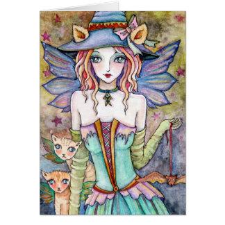 Witch Kitty Cat Bat * Night Walkers * Blank Card