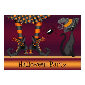 Witch Legs, Cat and Spider Halloween Party Card