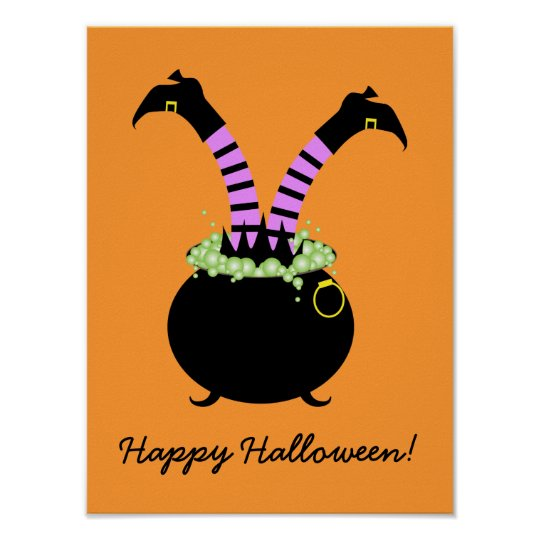 Witch Legs in Black Pot, Happy Halloween Poster