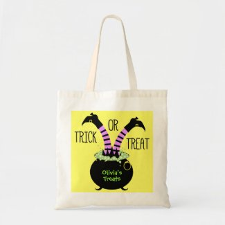 Witch Legs in Black Pot I Trick or Treat Bags