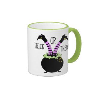Witch Legs in Black Pot I Trick or Treat Ringer Mug