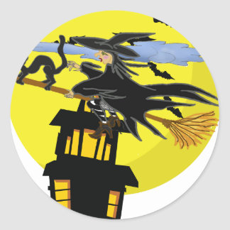 Witch Liddie and the Halloween Moon Classic Round Sticker