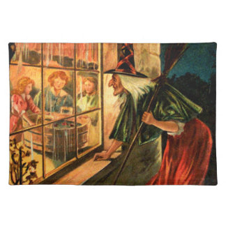 Witch Looking Through Window Cloth Placemat