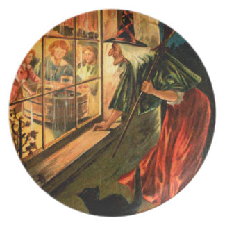 Witch Looking Through Window Dinner Plate