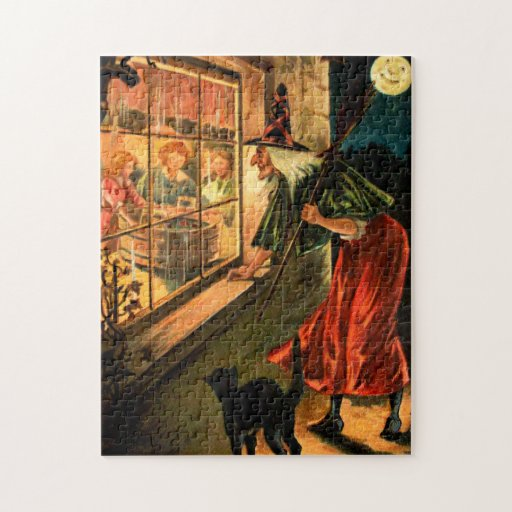 Witch Looking Through Window Jigsaw Puzzle