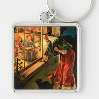 Witch Looking Through Window Keychain