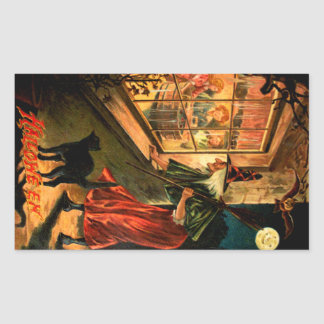 Witch Looking Through Window Rectangular Stickers
