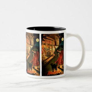 Witch Looking Through Window Two-Tone Coffee Mug