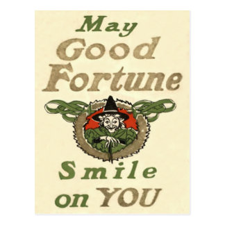 Witch May Good Fortune Smile On You Tribal Postcard