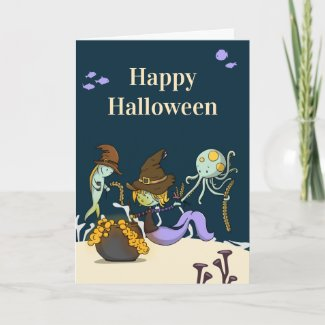 Witch mermaid making potions Halloween Card