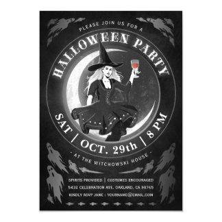 Witch & Moon Halloween Invitations | Black & White