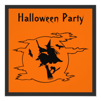 Witch & Moon Halloween Party Card
